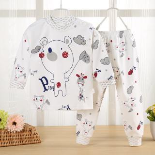 ชุดนอนเด็กแขนยาว 2 - 4 ขวบ ลายน้องหมีอารมณ์ดี Cotton 100%