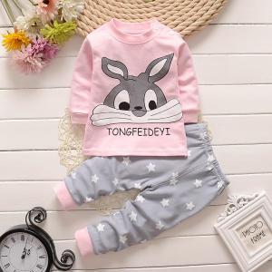 ชุดนอนเด็กน่ารัก แบบแขนยาว ลายกระต่ายน้อยน่ารัก Cotton 100% ผ้านิ่มมากๆ