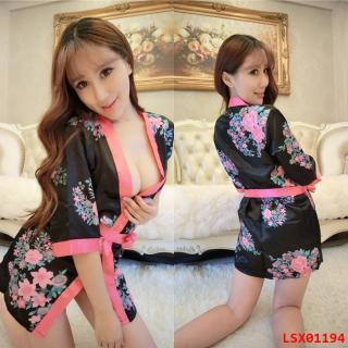 เสื้อคลุมเซ็กซี่ คอสเพลย์กิโมโน สีดำแถบชมพู ยั่วยวนชวนสัมผัส