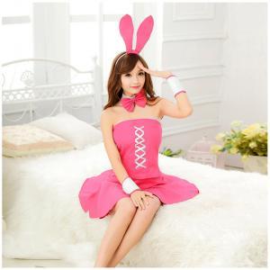 ชุดคอสเพลย์ กระต่ายเกาะอก สีชมพู เซ็กซี่แบบน่ารัก (ผ้าไม่ยืด)