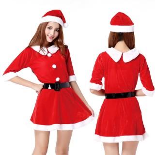 ชุดคริสมาสต์ เดรสกระโปรง แขนสามส่วน เสื้อคอปก สวยน่ารัก ไม่โป๊ะ