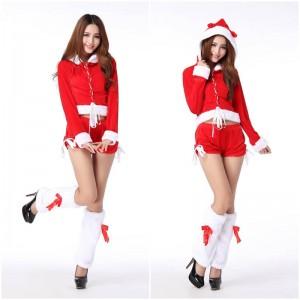 ชุดคริสมาสต์ผู้หญิง เซ็ต 3 ชิ้น เสื้อแขนยาวมีฮูทแบบเอวลอย มาพร้อมกางเกงขาสั้นและปลอกขาเก๋ๆ