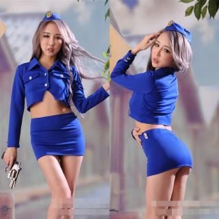 ชุดคอสเพลย์ Cosplay ตำรวจหญิง แสนสวยในชุดน้ำเงิน พราวเสน่ห์
