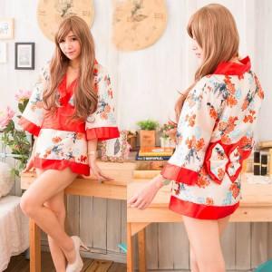 ชุดนอนกิโมโน สาวญี่ปุ่น ลายดอกไม้โทนส้ม แบบสั้นสุดเซ็กซี่
