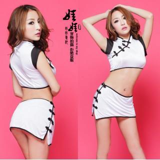 ชุดคอสเพลย์กี่เพ้าสาวจีน สีขาว เสริฟความ sexy จนคุณไม่ได้นอน