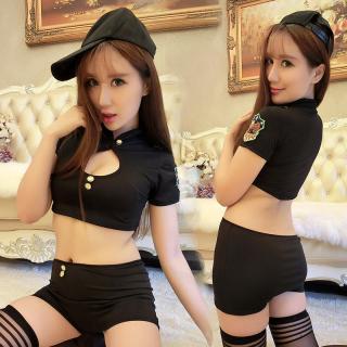 ชุดคอสเพลย์เซ็กซี่ ตำรวจสาวผ้ายืด เอวลอยสุดเซ็กซี่ พร้อมหมวกแก๊ปสุดเท่