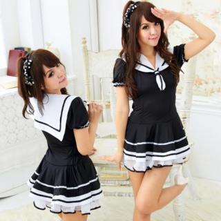 ชุดคอสเพลย์นักเรียนญี่ปุ่น สีดำขาว เนื้อผ้ายืด เซ็กซี่จับใจ