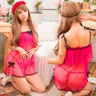 ชุดนอนเซ็กซี่ ซีทรู สีชมพูสดใส ความน่ารักที่สัมผัสได้