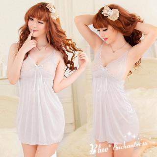 ชุดนอนไม่ได้นอน สีขาวผ้านิ่มลื่น สายเดี่ยว ฟินตลอดค่ำคืน