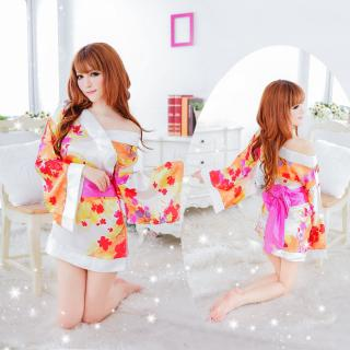 ชุดนอนกิโมโนสีขาว คาดชมพู สไตล์ญี่ปุ่น ลายดอกไม้ ความเซ็กซี่ที่ไม่จำเจ
