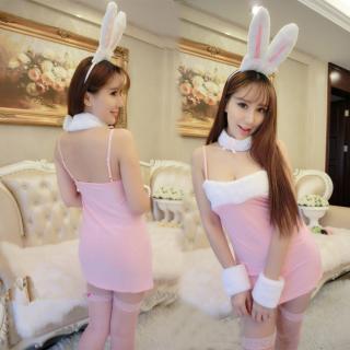 ชุดกระต่ายเซ็กซี่ สีชมพู ผ้ายืด สายเดี่ยว ครบเซ็ต (ไม่รวมถุงน่องจ้า)