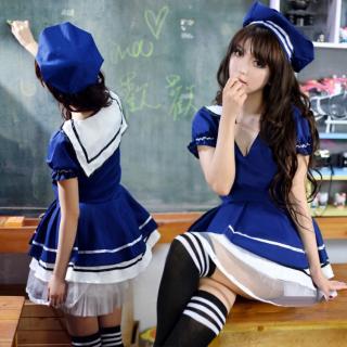 ชุดคอสเพลย์นักเรียน ปังๆมาก สีน้ำเงิน สไตล์ญี่ปุ่น คุณภาพดี ใส่แล้วทำให้ใจไหวหวั่น