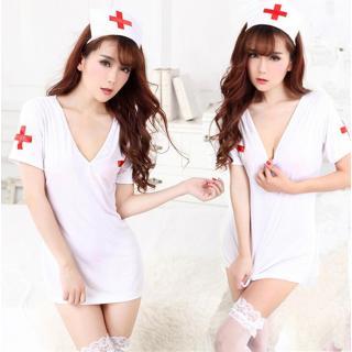 ชุดคอสเพลย์พยาบาล สีขาว ผ่าหลังเซ็กซี่ วาบหวิวมีเสน่ห์