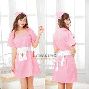 ชุดคอสเพลย์ พยาบาลเซ็กซี่ สีชมพู คุณภาพดี (ไม่รวมถุงน่อง)