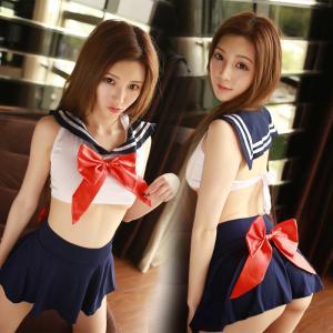 ชุดคอสเพลย์ นักเรียนญี่ปุ่น เสื้อผูกหลังเซ็กซี่เกินห้ามใจ