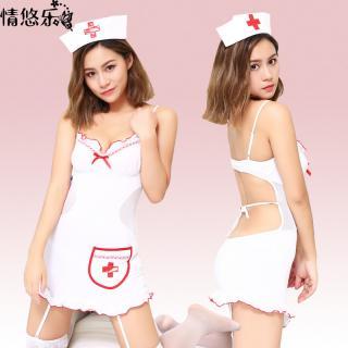 ชุดคอสเพลย์ พยาบาลสาว ชุดสายเดี่ยว เว้าหลังเซ็กซี่เย้ายวนใจ พร้อมส่ง