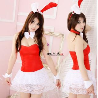 ชุดคอสเพลย์กระต่าย เกาะอกสีแดงสด กระโปรงลูกไม้สวยจับใจ