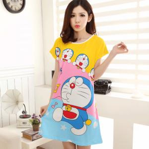 ชุดนอนกระโปรง ลายการ์ตูนโดราเอมอน (Doraemon) ผ้านิ่มๆ