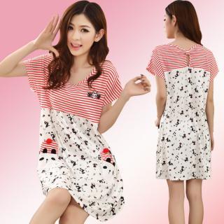 ชุดกระโปรงเดรส แฟชั่นชุดนอนน่ารัก สไตล์เกาหลี สีแดง