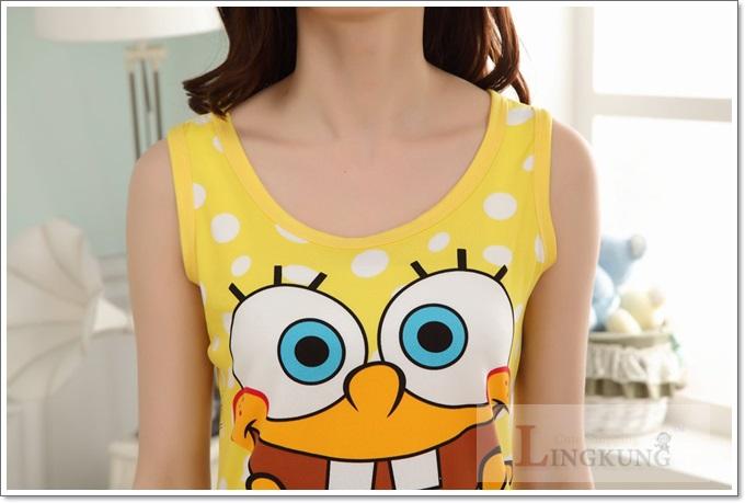 ชุดนอนเสื้อกล้าม SpongeBob  ผ้ายืดนิ่มๆ