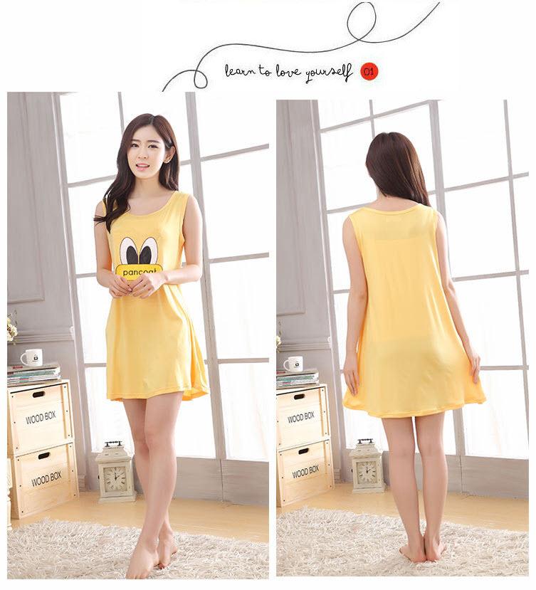 ชุดนอนกระโปรงน่ารัก แขนกุดลาย PANCOAT สีเหลือง