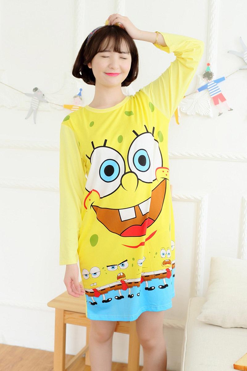 ชุดนอนการ์ตูน spongebob แขนยาว