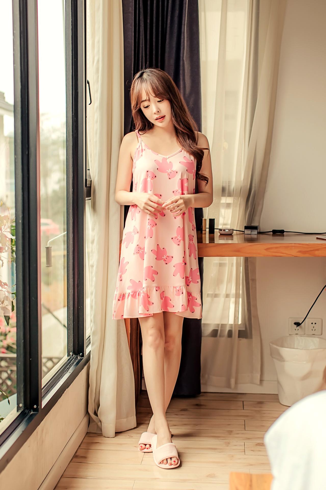 ชุดนอนเกาหลี สไตล์น่ารัก สีชมพู