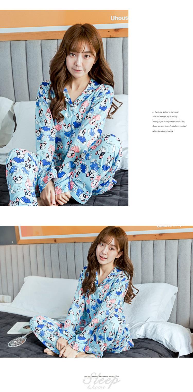 ชุดนอนเกาหลี กระดุมหน้า ลายน่ารัก