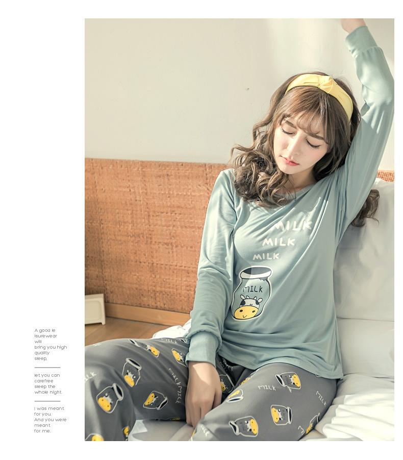ชุดนอนน่ารัก สไตล์เกาหลี สำหรับผู้ญิง แขนยาว กางเงขายาว