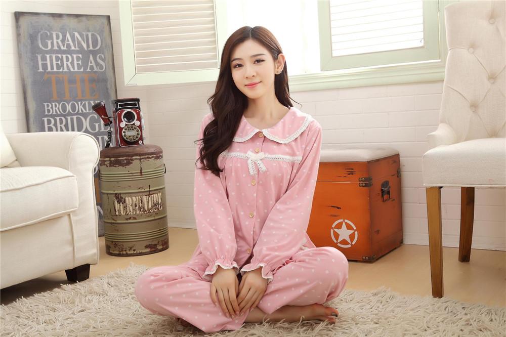 ชุดนอนแขนยาว สีชมพู