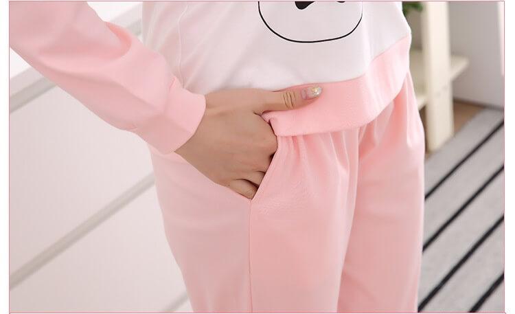 ชุดนอนแขนยาวขายาว สีชมพู
