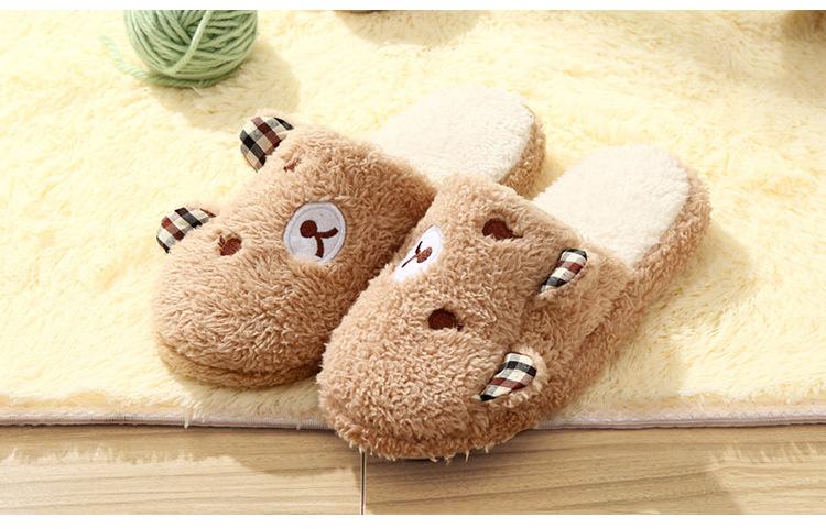 รองเท้าใส่ในบ้าน ลายน้องหมีหูคู่ สีน้ำตาล