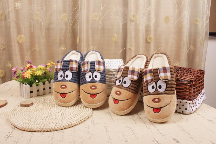 รองเท้าใส่ในบ้าน น่าตาอมยิ้มแสนน่ารัก สีน้ำเงิน น้ำตาล