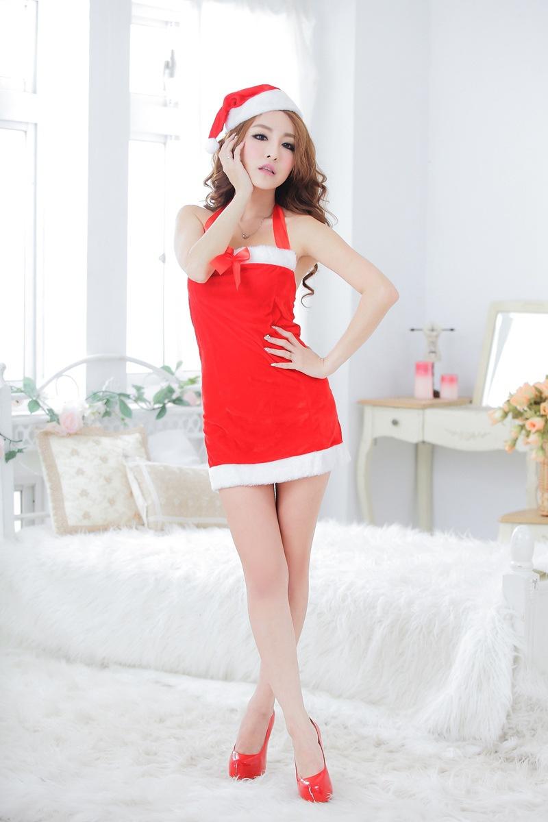 ชุดสาวแซนตี้คริสมาส เนื้อกำมะหยี่ พร้อมหมวกซานต้า