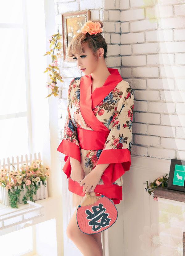 ชุดนอนกิโมโนน่ารัก ลายดอกไม้ เซ็กซี่แบบญี่ปุ่น
