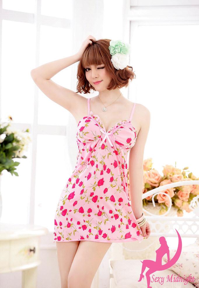 ชุดนอนเซ็กซี่ สีชมพูลายดอกไม้