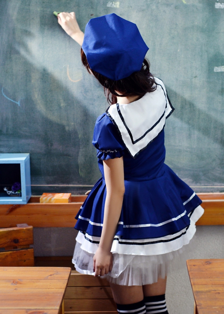 ชุดคอสเพลย์นักเรียน สีน้ำเงิน สไตล์ญี่ปุ่น