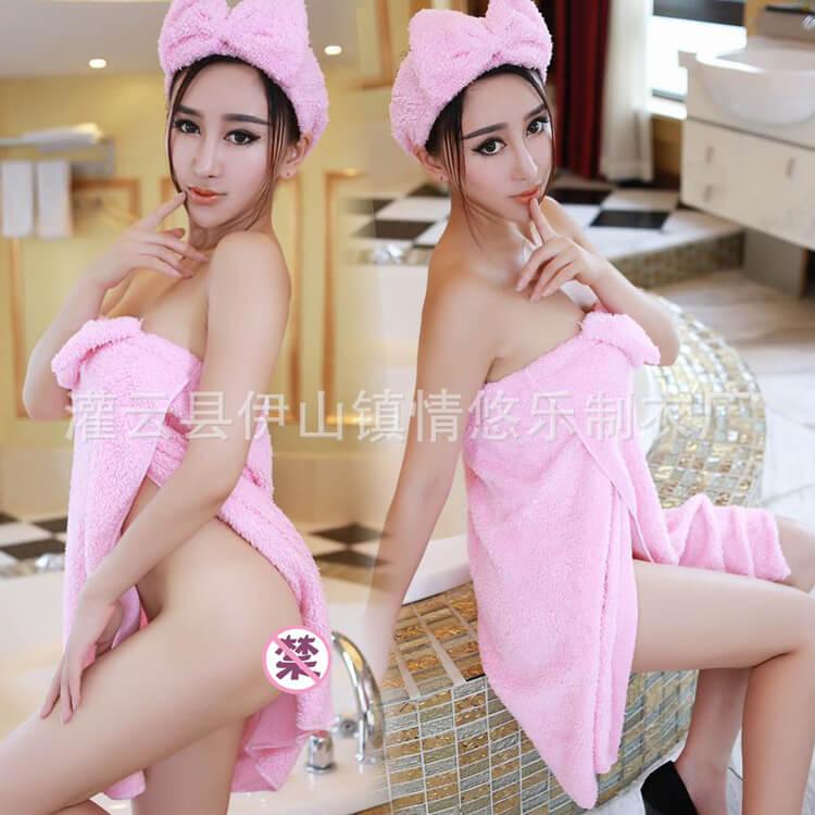 ผ้าคลุมอาบน้ำ สีชมพู